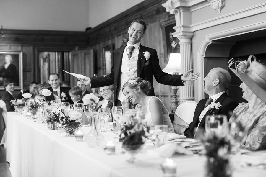 documentary photography of wedding speeches at Arley Hall, Cheshire