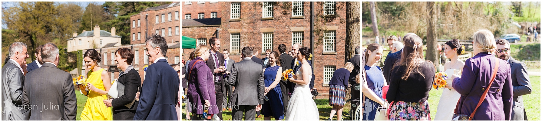 Quarry Bank Mill wedding reception on grass