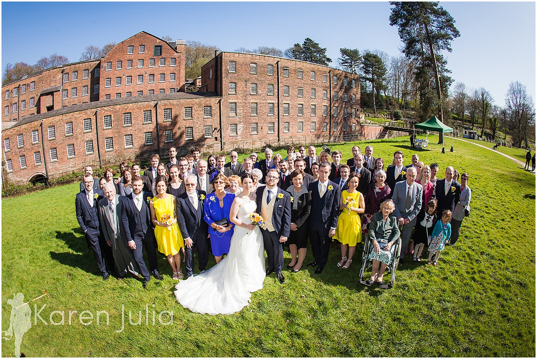 Quarry Bank Mill wedding group photo