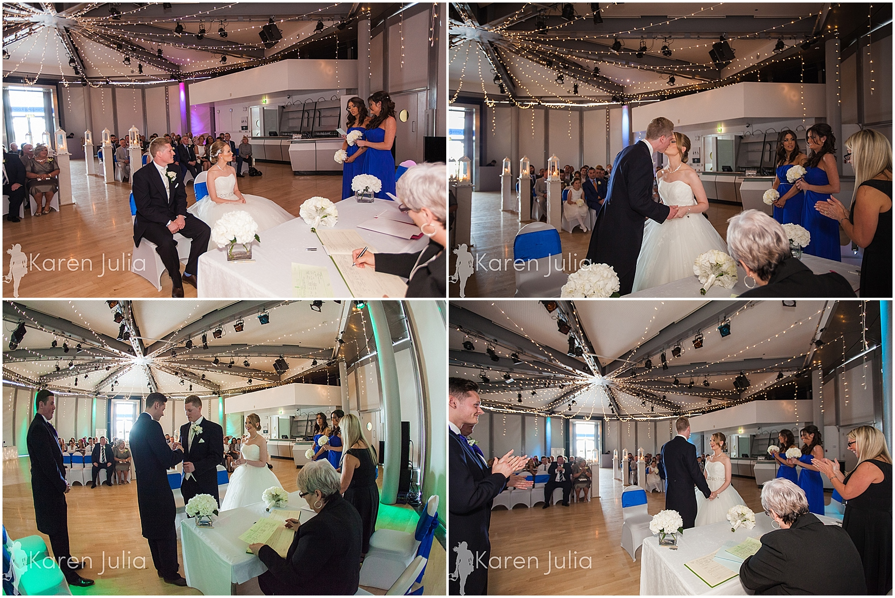 Blue themed Lowry Wedding Photography wedding ceremony