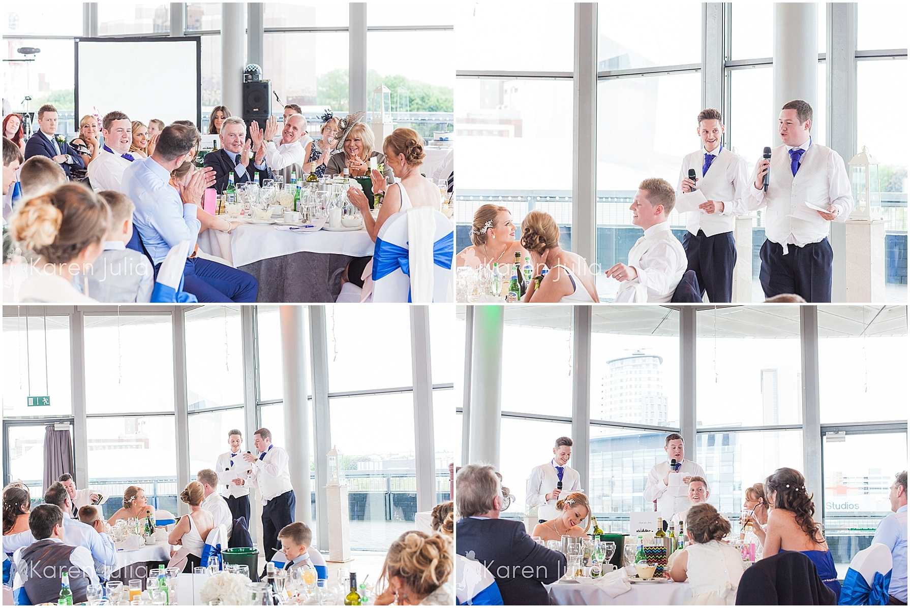 Blue themed Lowry Wedding Photography wedding speeches