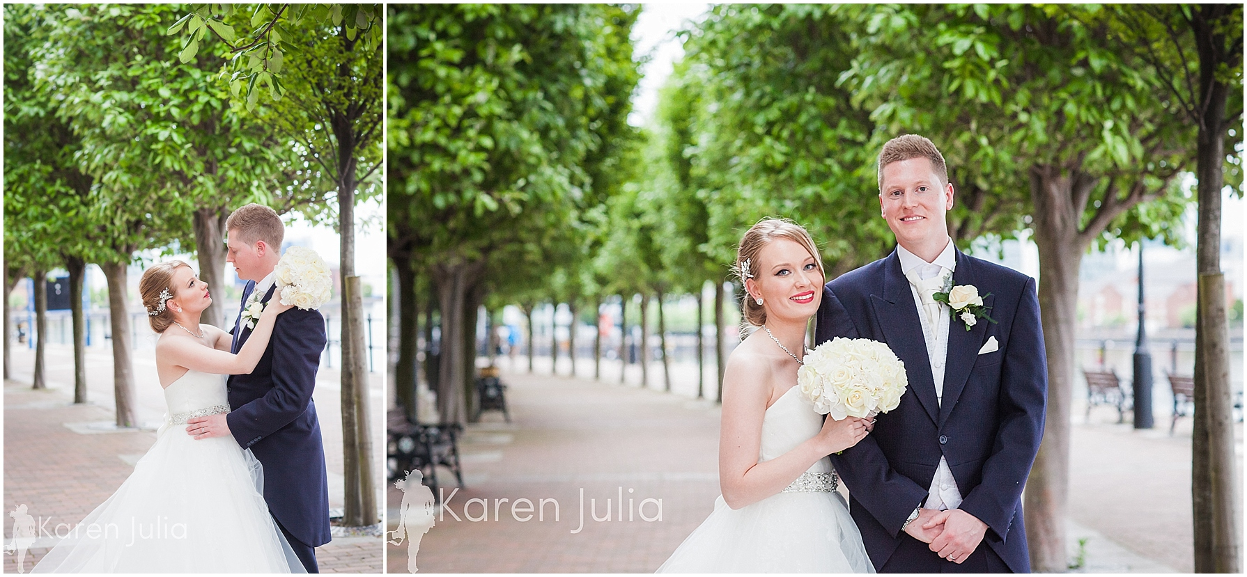 Blue themed Lowry Wedding Photography couple portraits