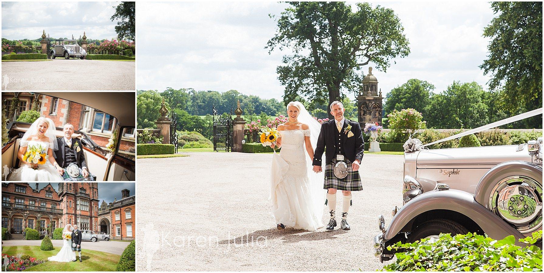 bride arriving at capesthorne hall