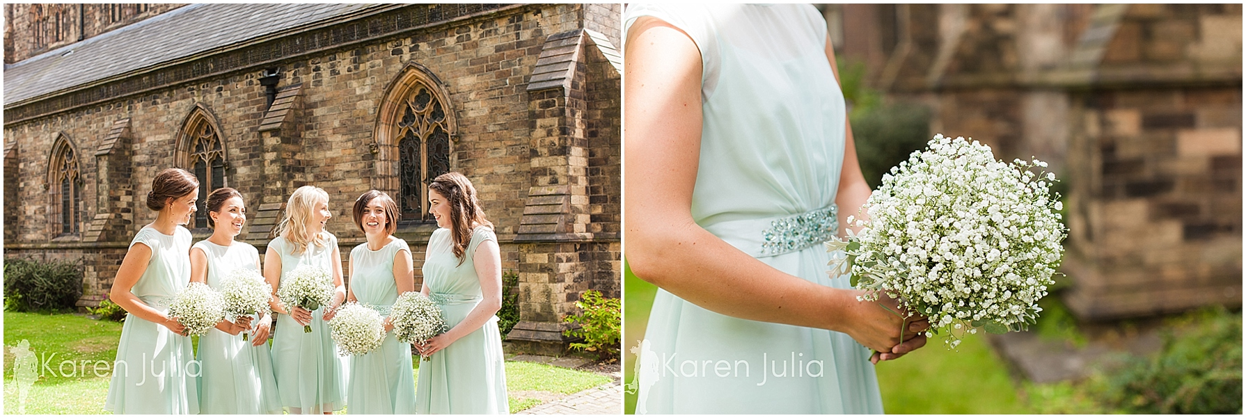 bridesmaids, mint green dresses, outside church