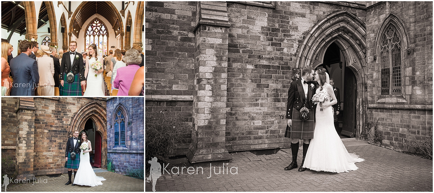 wedding couple portraits outside church