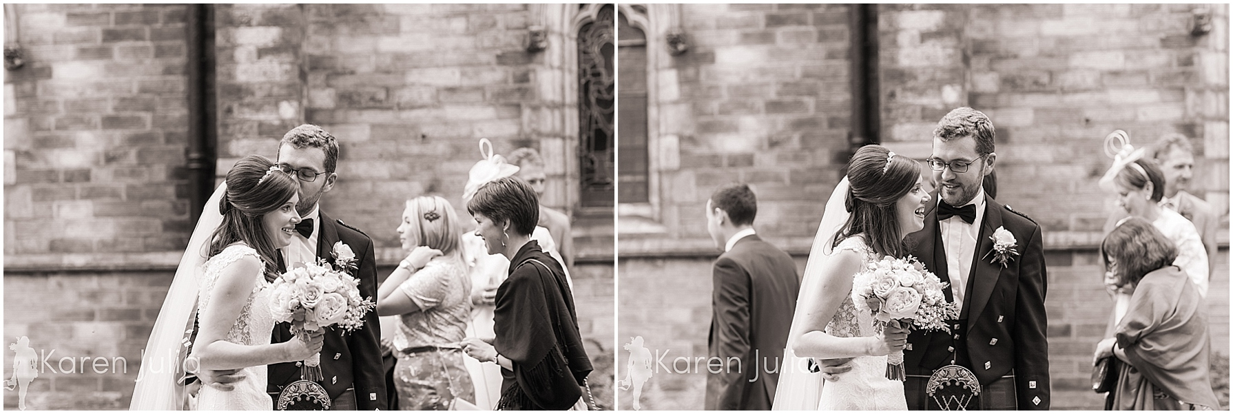 Documentary wedding photography outside church