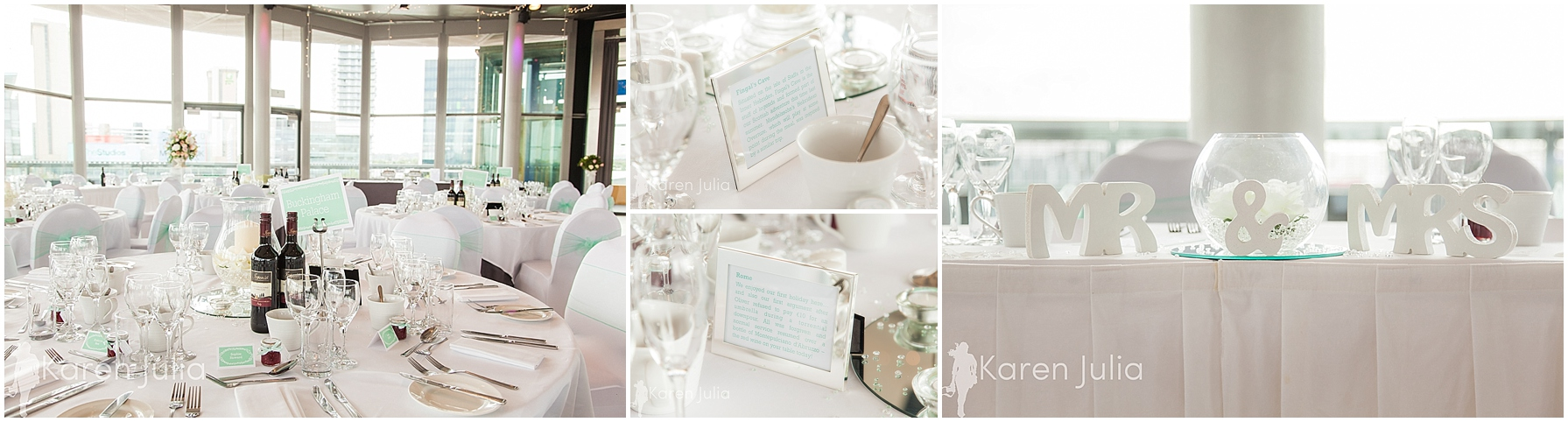 mint themed wedding reception in lowry compass room
