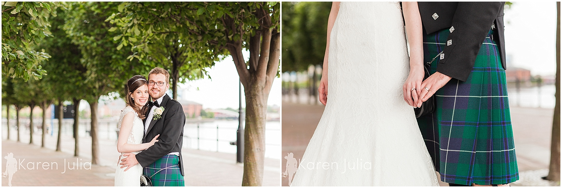 Wedding portrait tree lined walkway salford quays