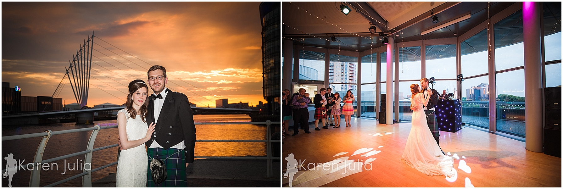 sunset wedding portrait lowry theatre