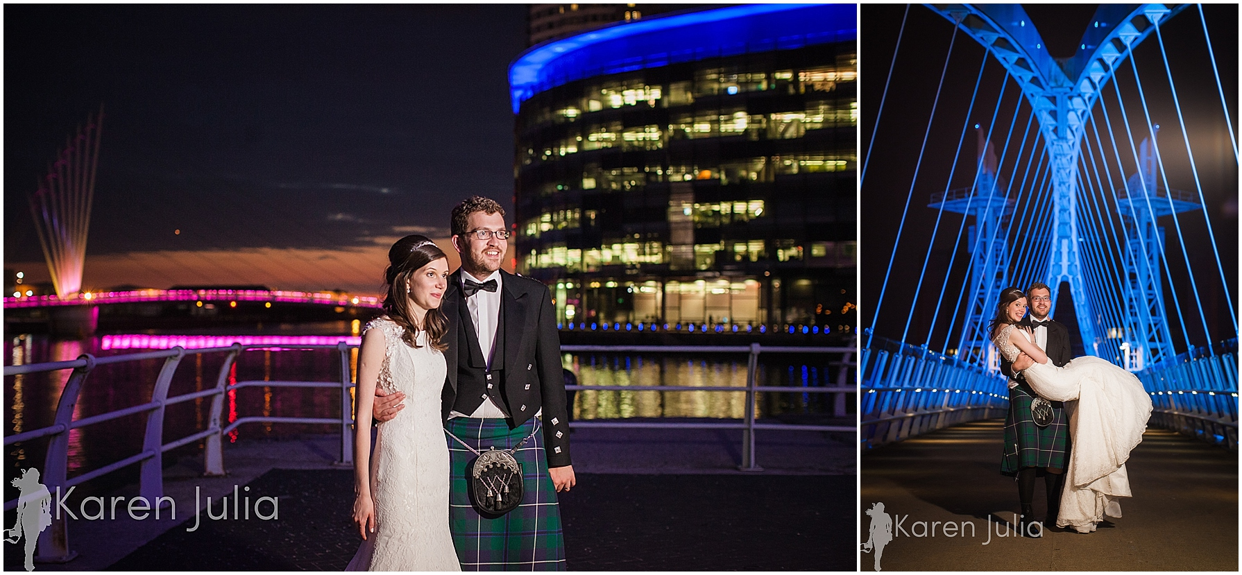 wedding couple portrait at night lowry theatre
