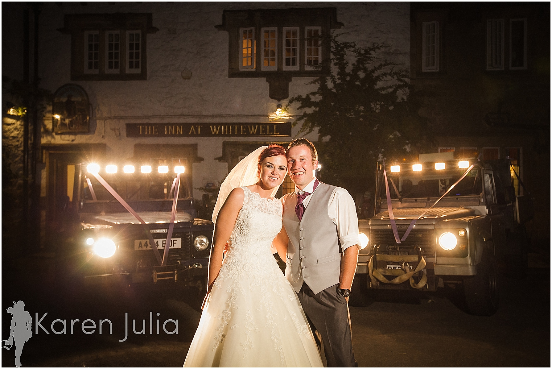 The Inn at Whitewell Wedding Photography with landrover defender