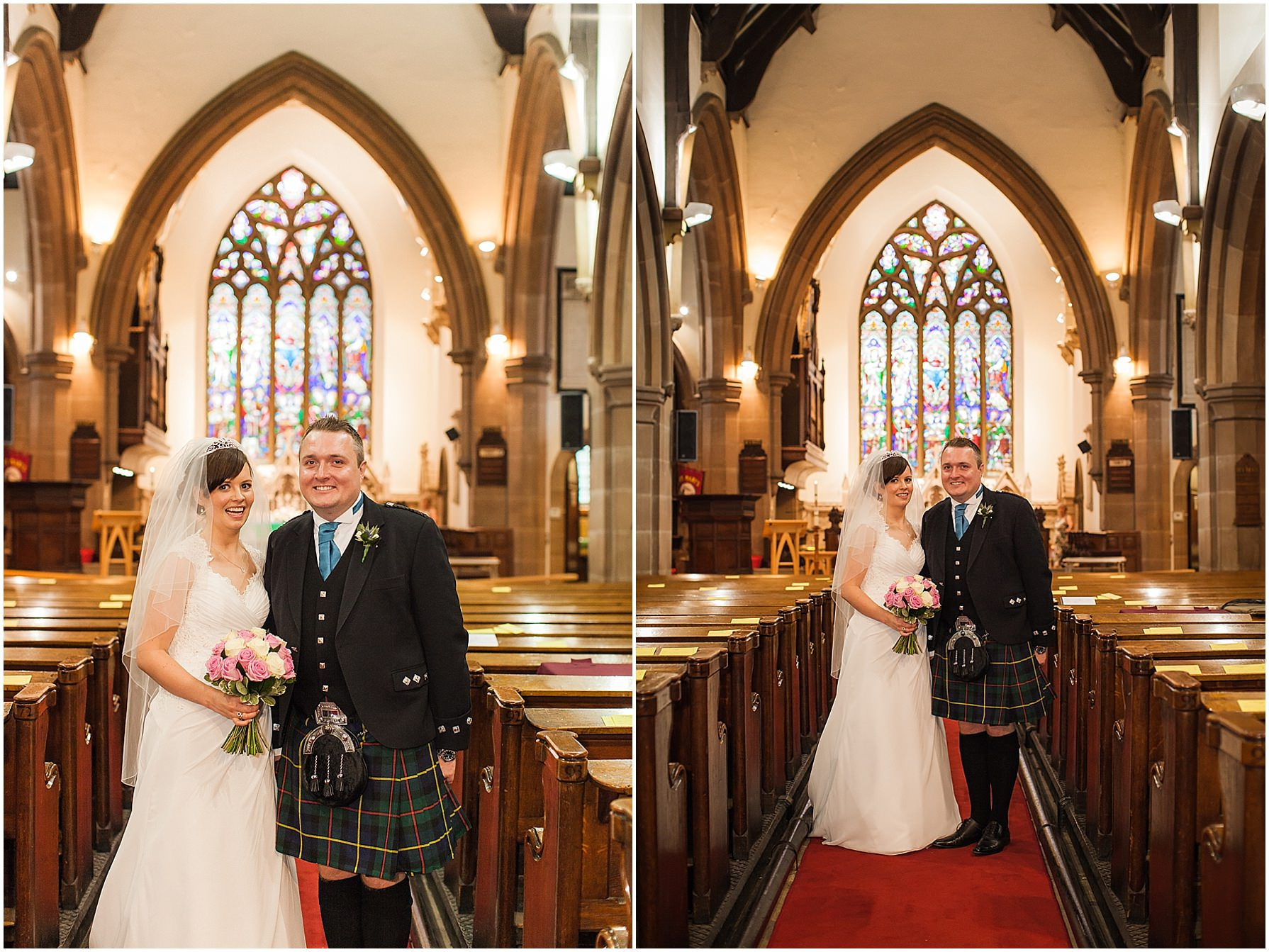 bride and groom portraits St Mary's church Lymm