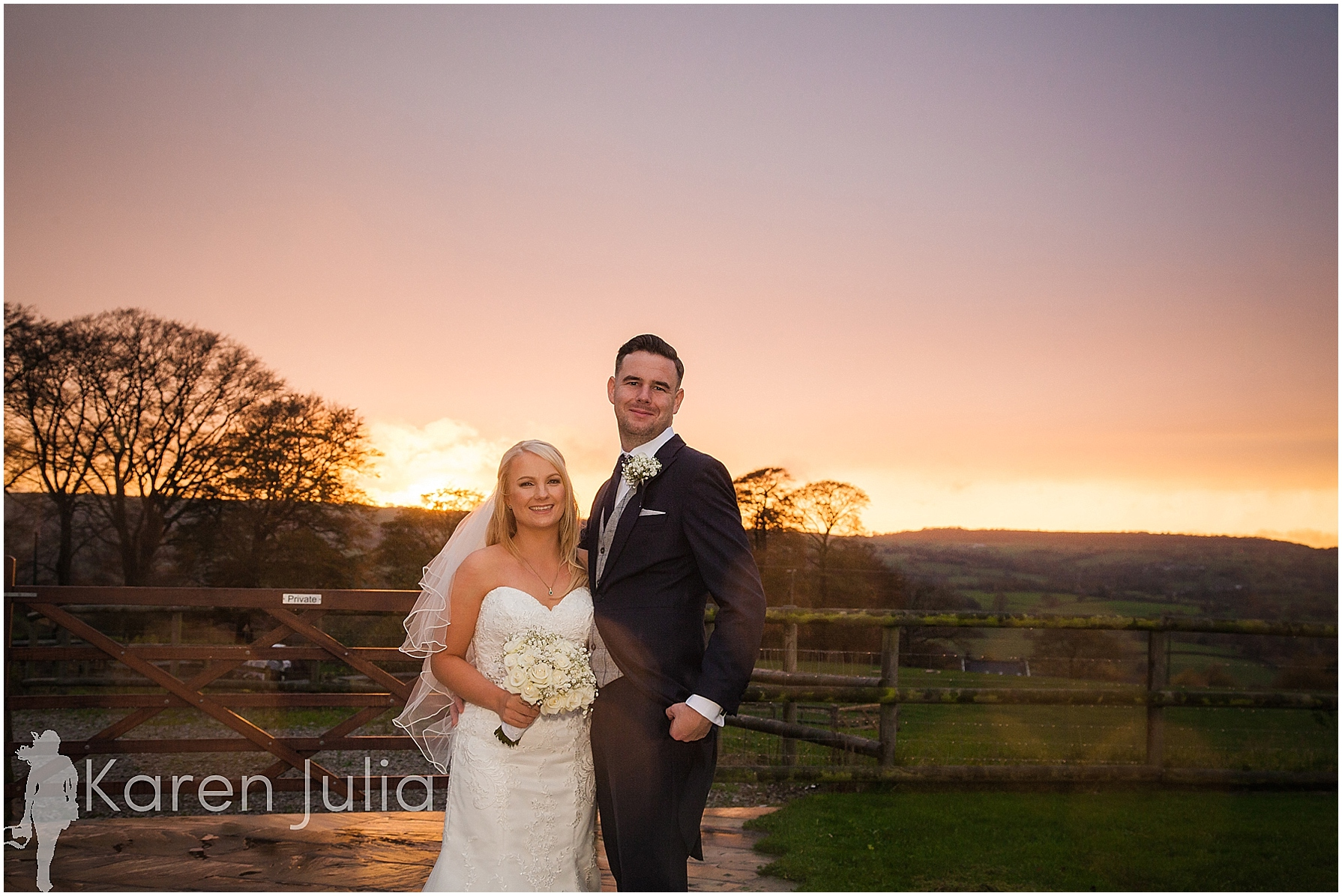 bride and groom sunset portrait Winter Heaton House Farm Wedding Photography