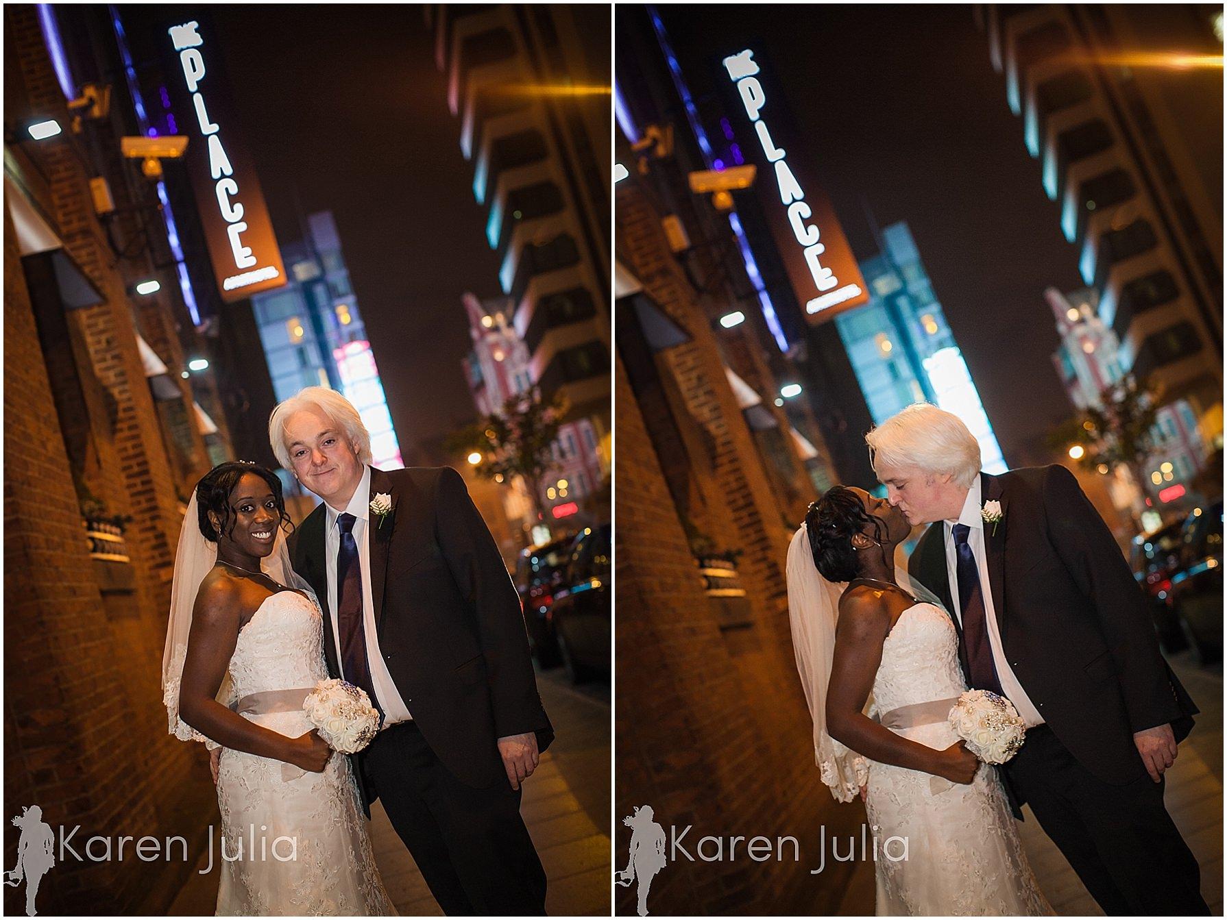bride & groom night portrait the place hotel