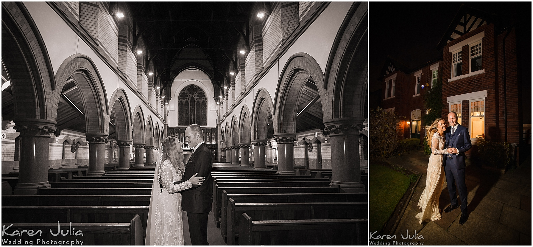 bride and groom portrait St Josephs church Sale