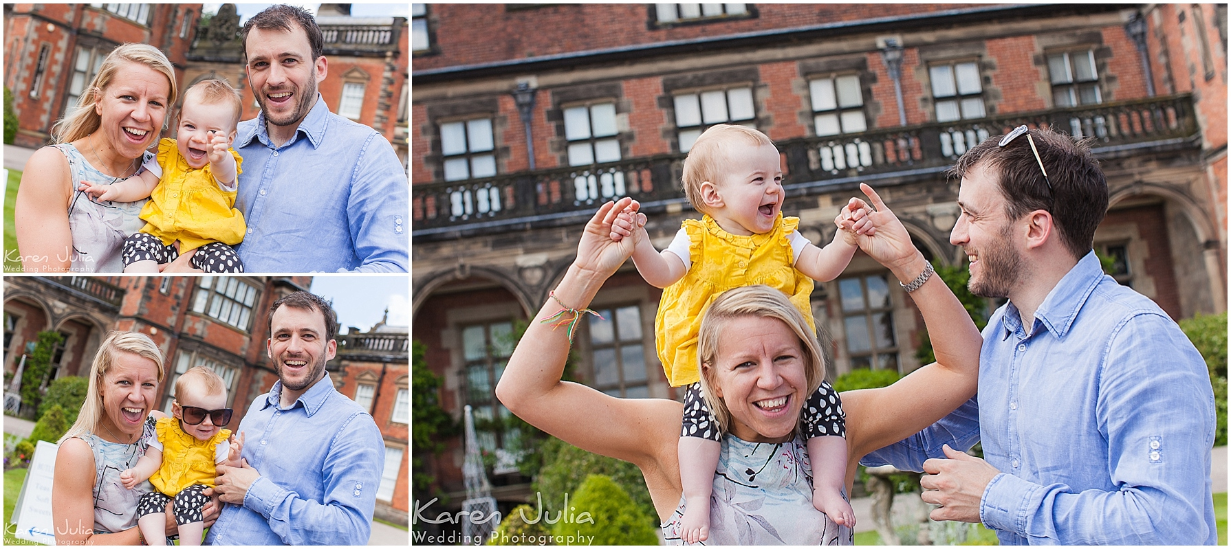 parents with young child at pre wedding shoot at Capesthorne Hall