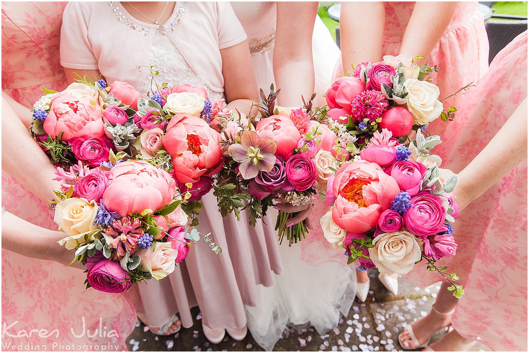 bright colourful pink bridal bouquets