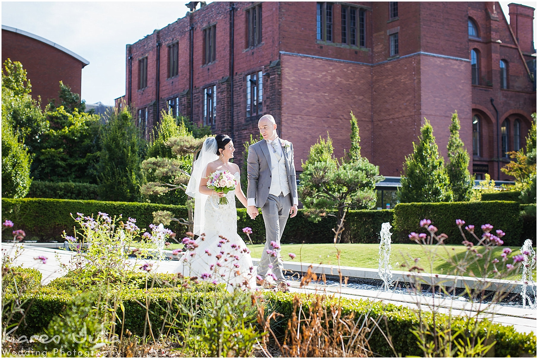 Devonshire Hotel Wedding Photography with bride and groom portraits at Angel Fields Gardens