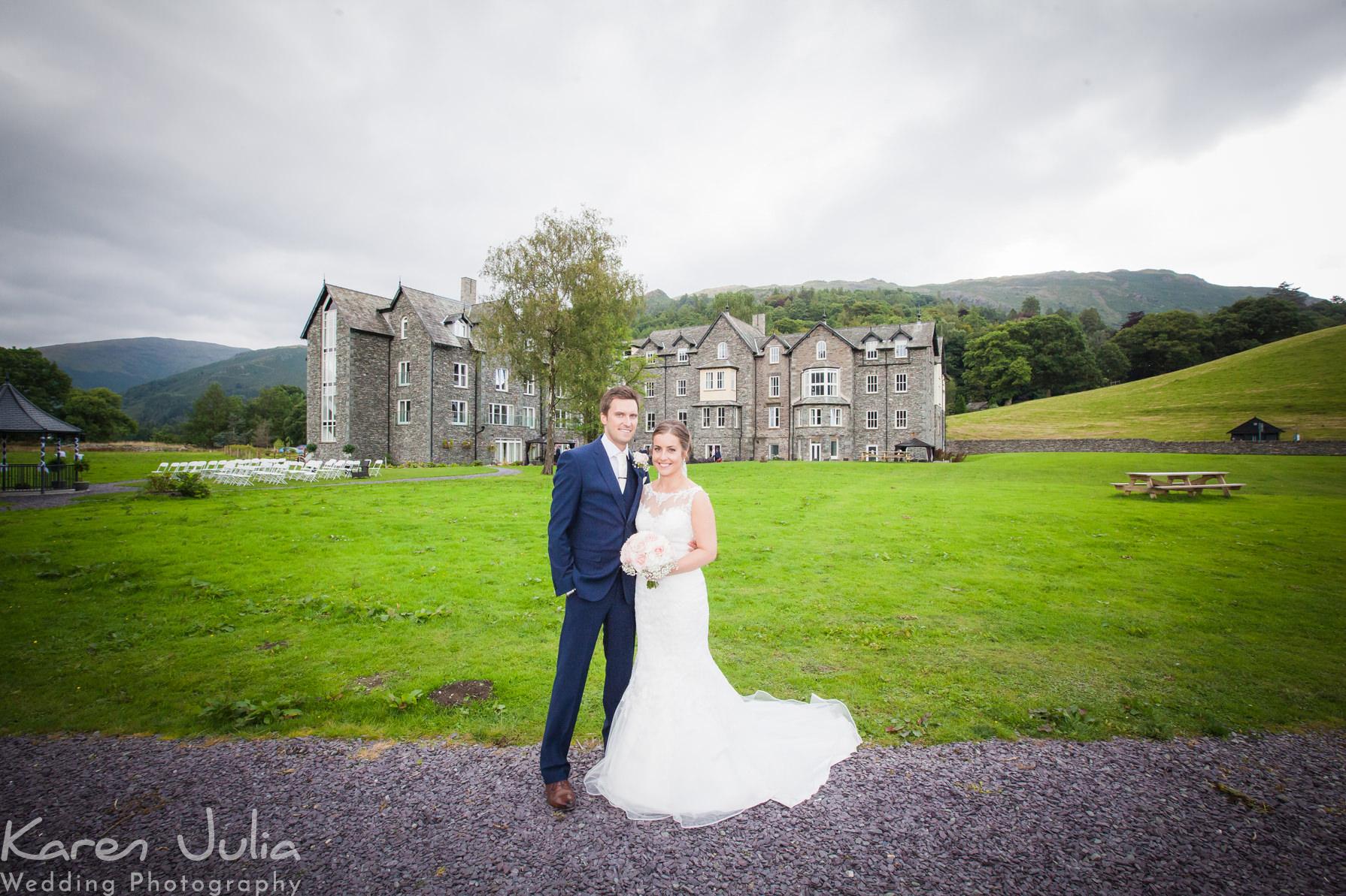 bride and groom portrait at Daffodil Hotel & Spa Wedding