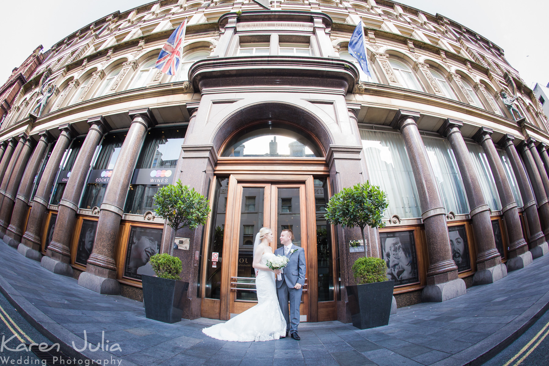 bride and groom portrait at their Sunny Summer Hard Day's Night Hotel Wedding