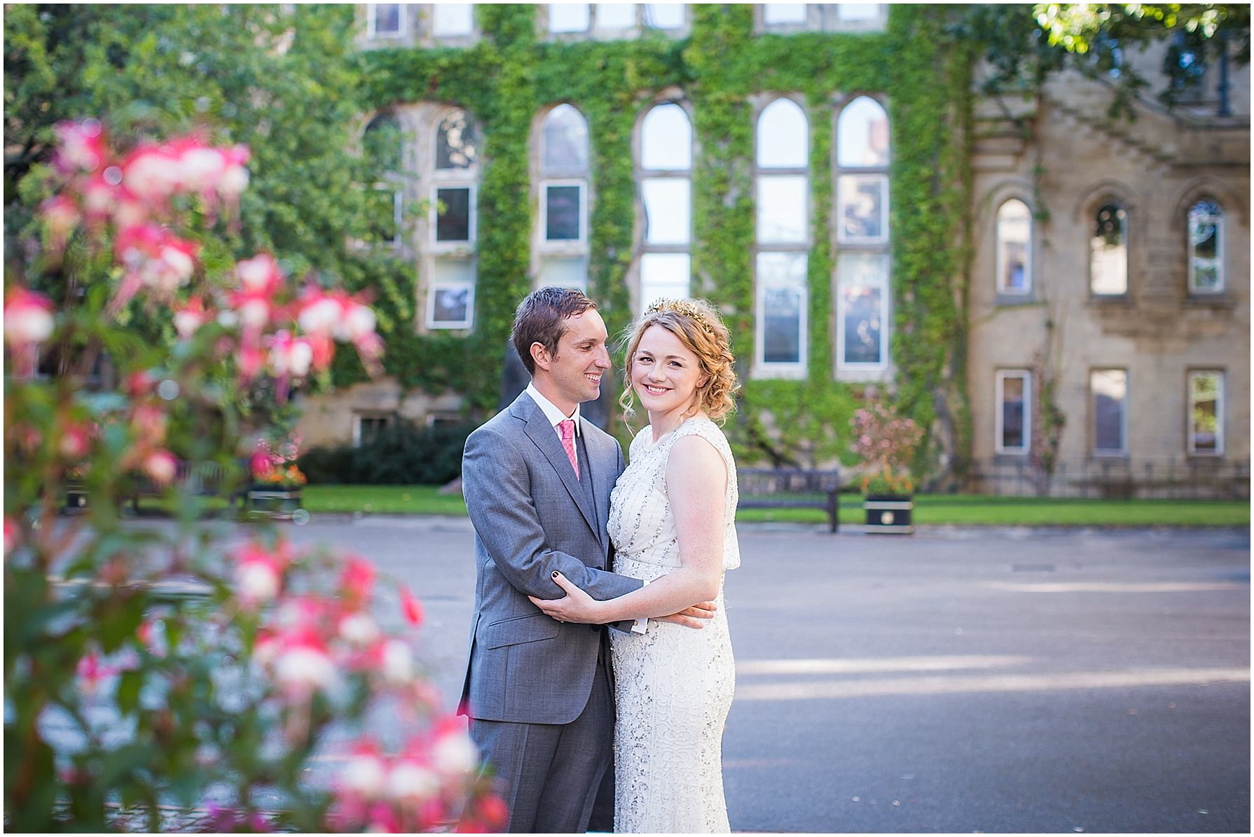 Manchester Museum wedding photography portrait in courtyard