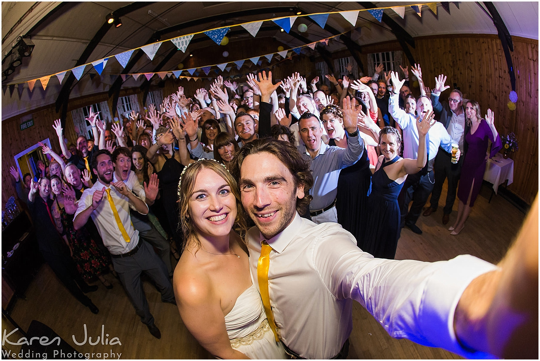 Village Hall Wedding Photography end of night group shot selfie