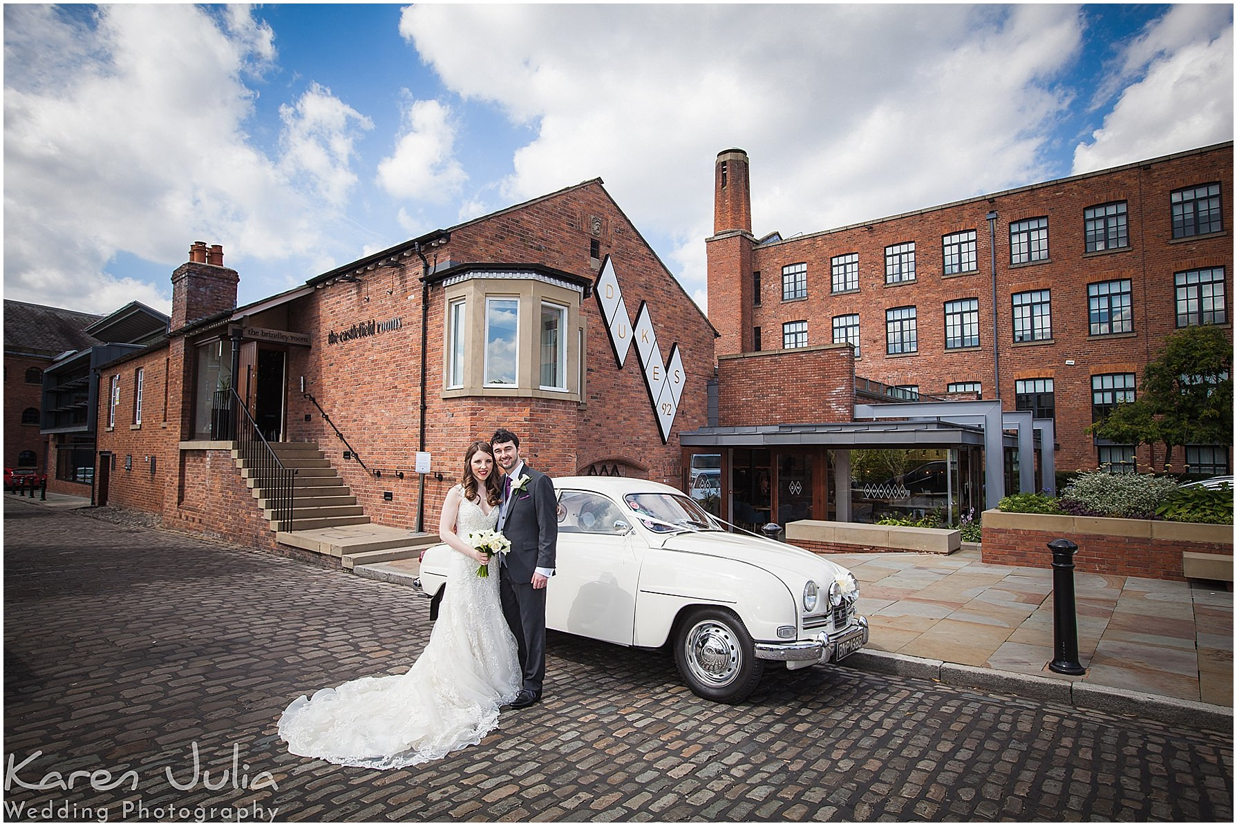 bride and groom portrait with vintage SAAB