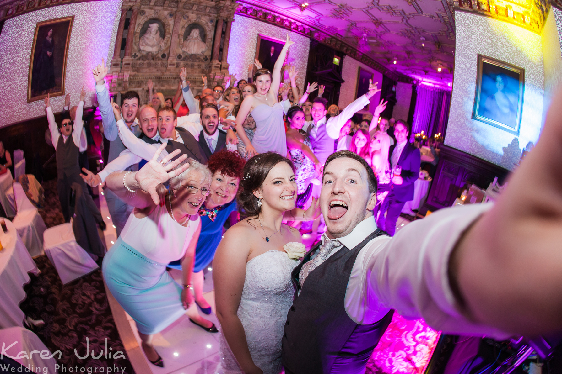 Crewe Hall Wedding Photography a dance floor group shot selfie