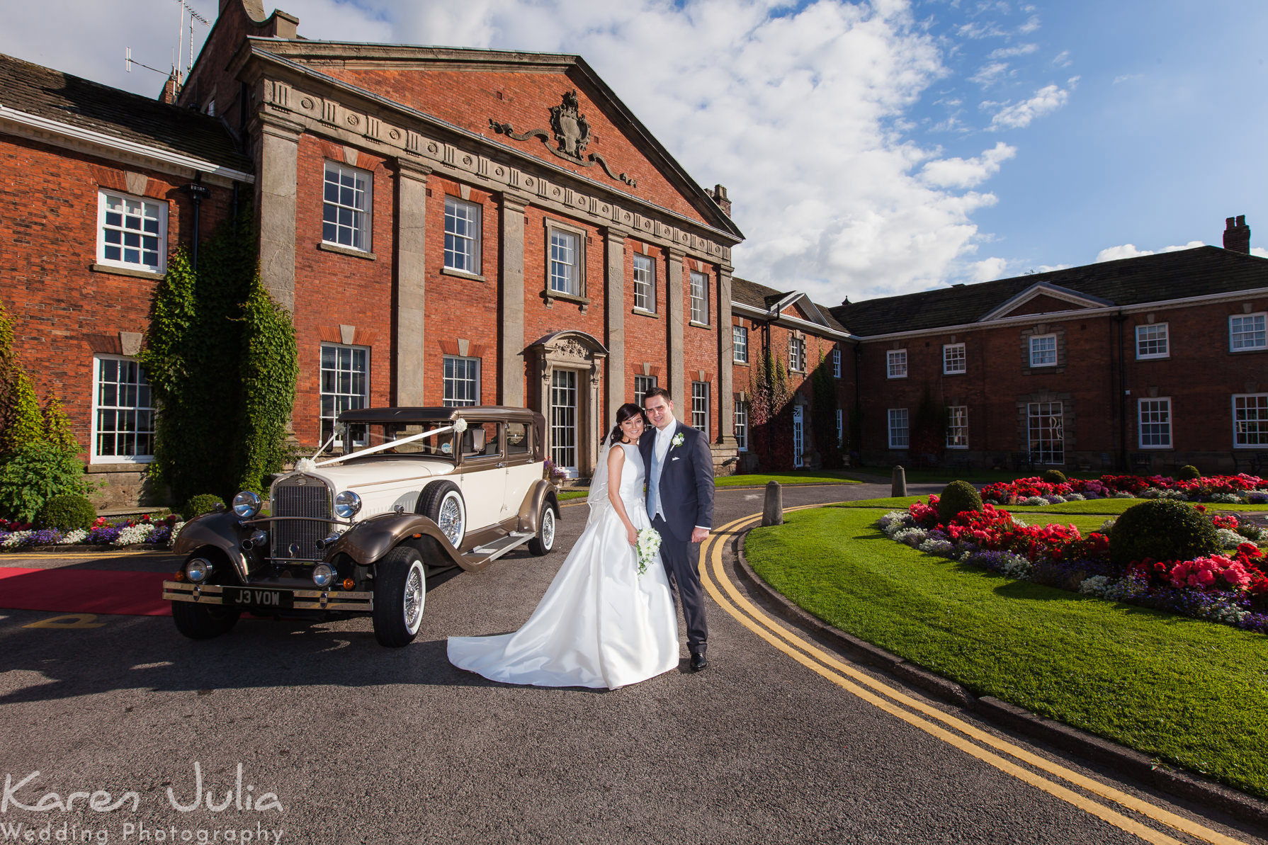 bride and groom portrait at Mottram Hall Autumn Wedding by Karen Julia Photography