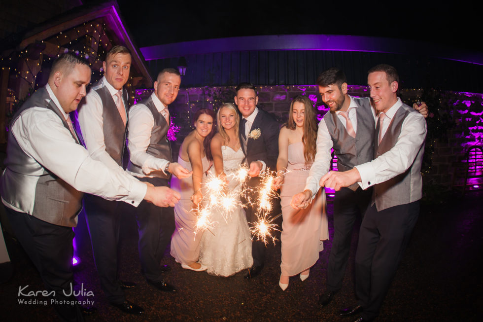 wedding sparklers at Heaton House Farm