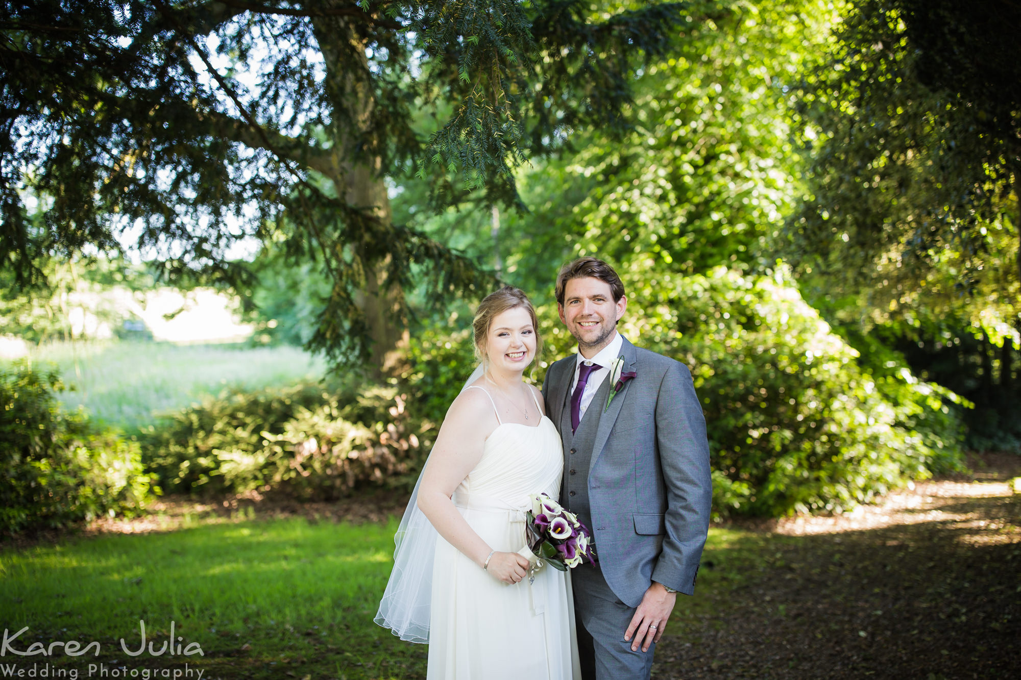 bride and groom portrait in the gardens at the Deanwater Hotel