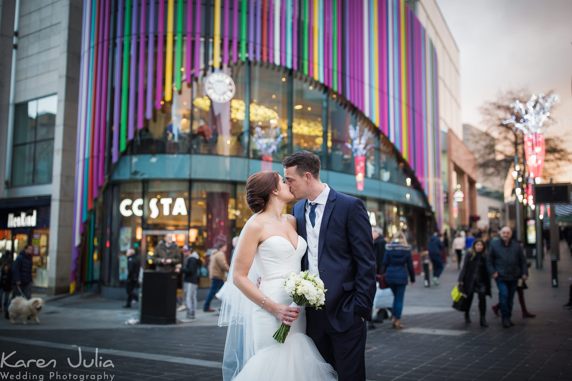 bride and groom portrait on wedding day in Liverpool city centre