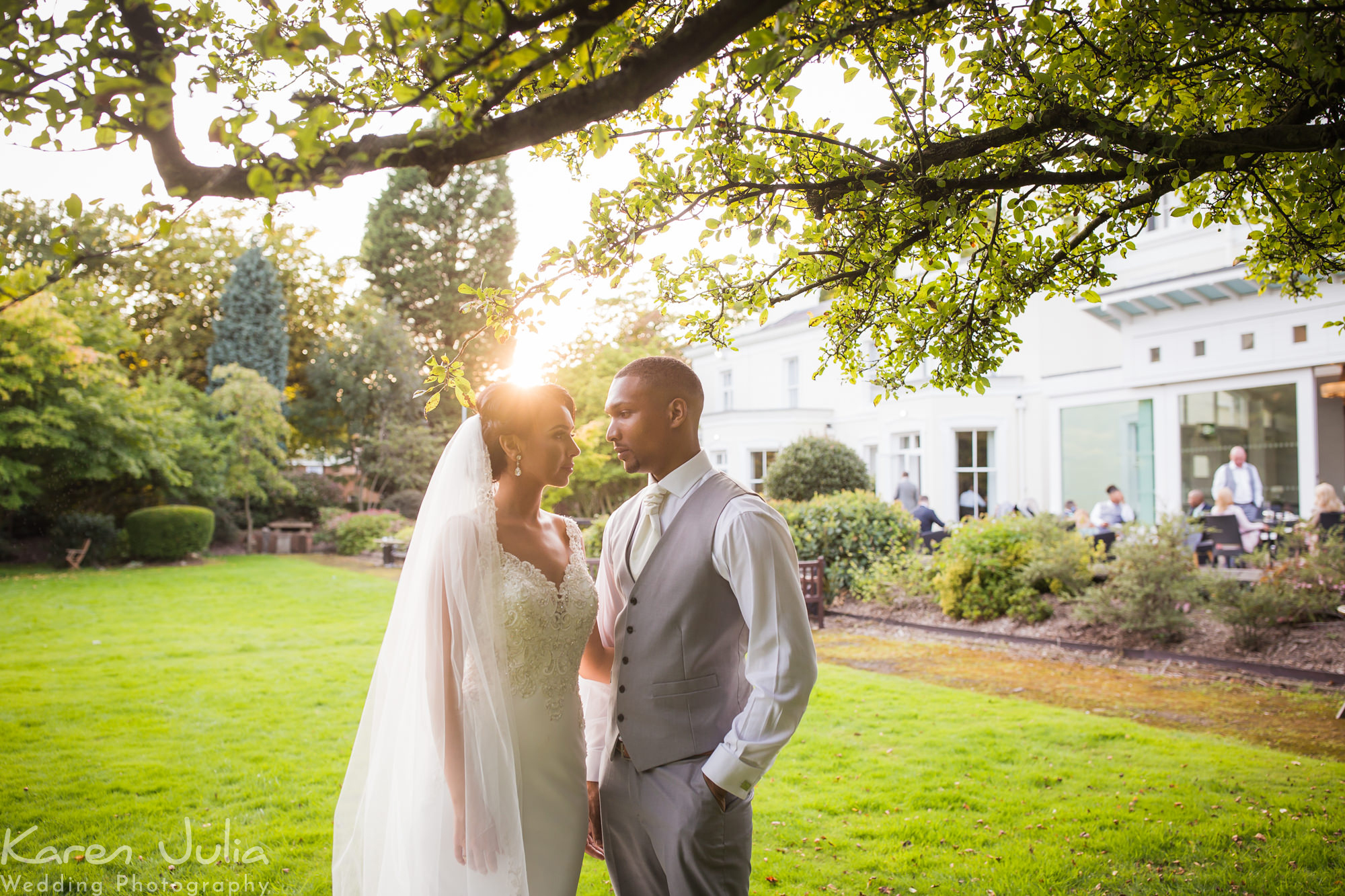 bride and groom sunflare portrait at Chancellors Hotel