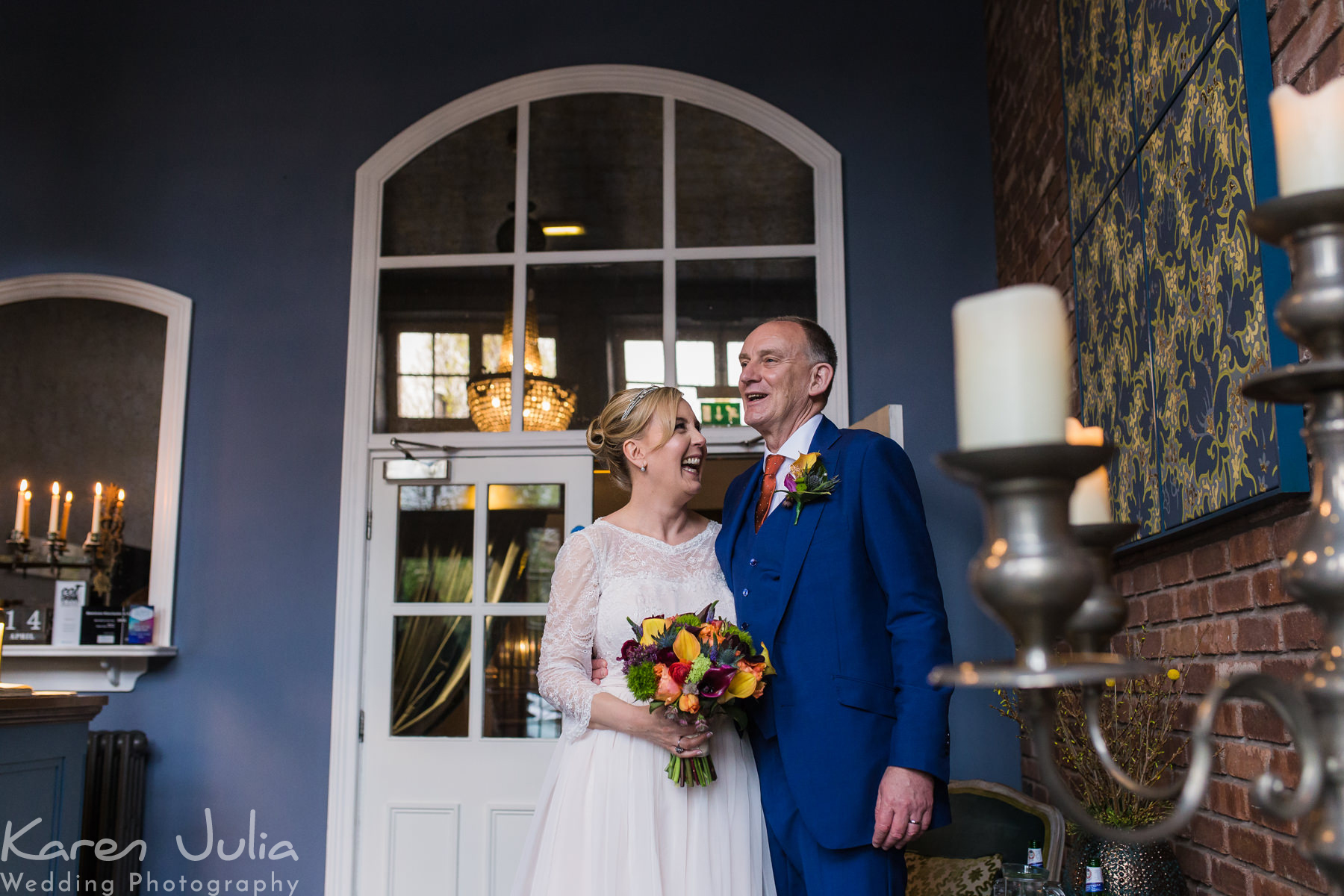 bride and groom portrait in reception at their Rustic Great John Street Hotel Wedding