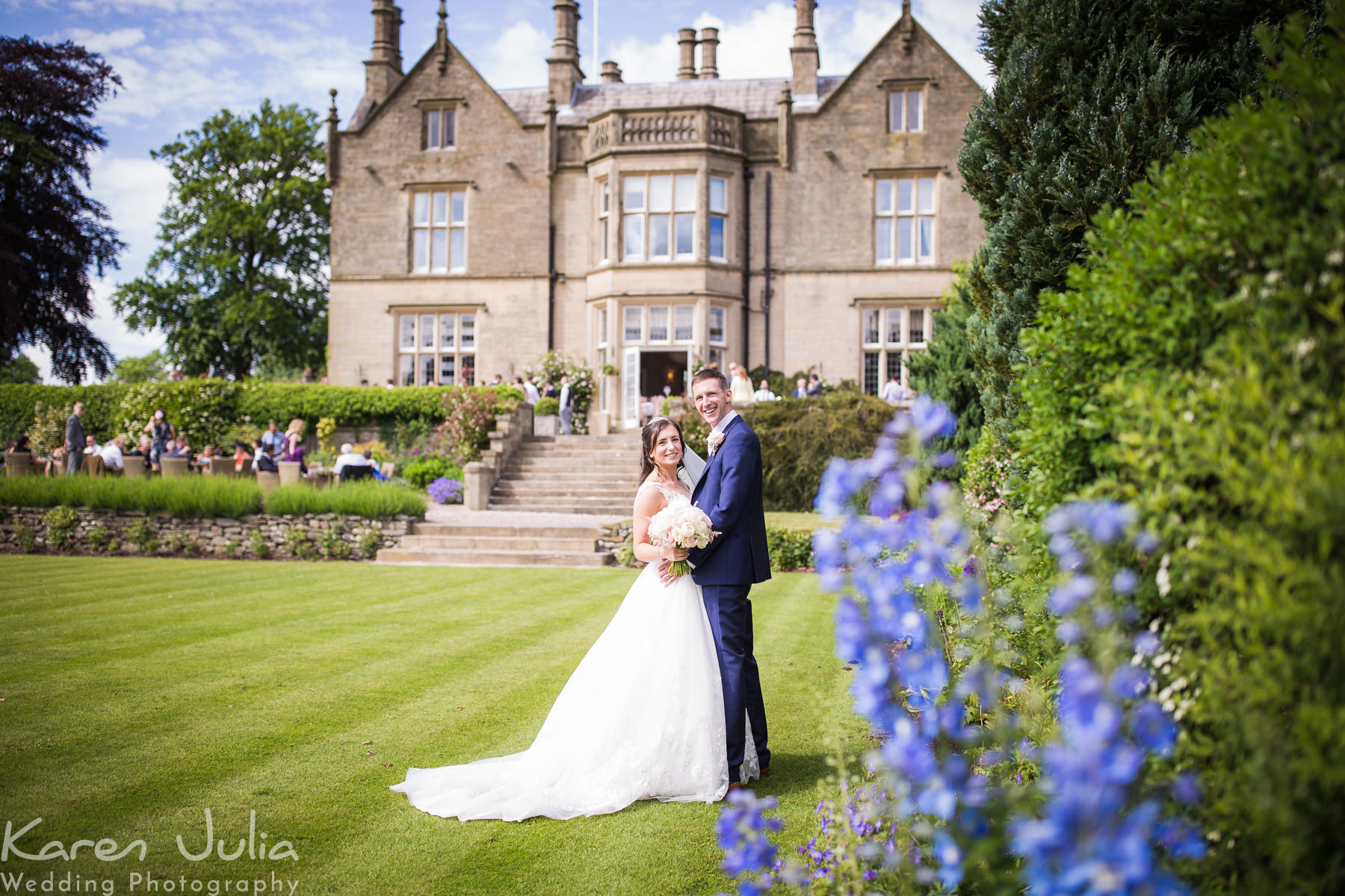 bride and groom portrait at their sunny summer Blush & Blue Falcon Manor Wedding