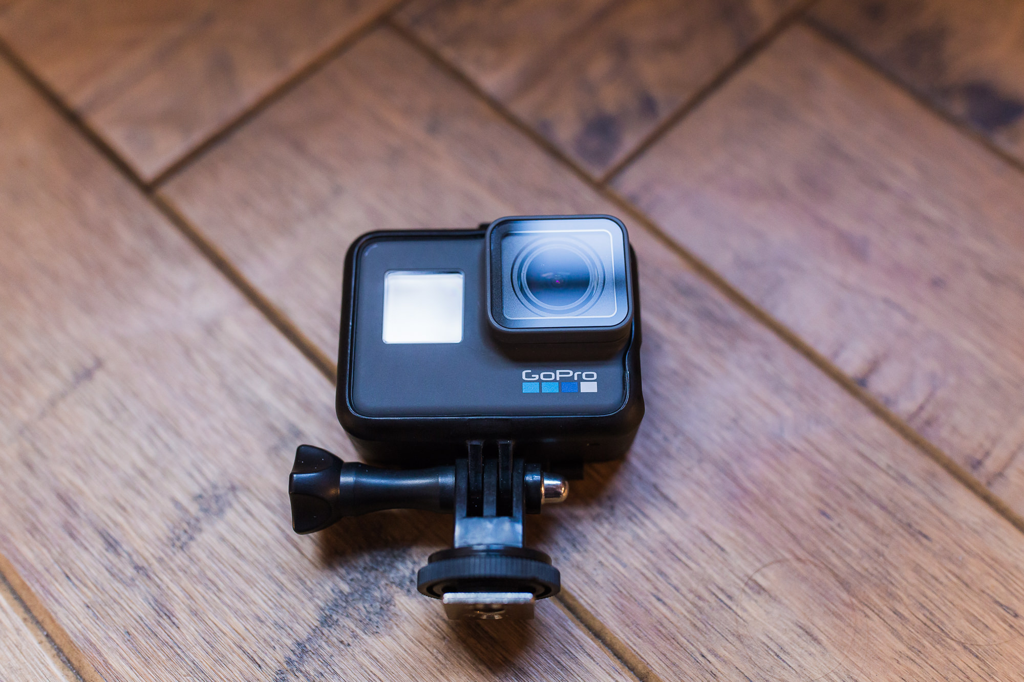 Photo of the GoPro Hero 6 with flash mount adapter