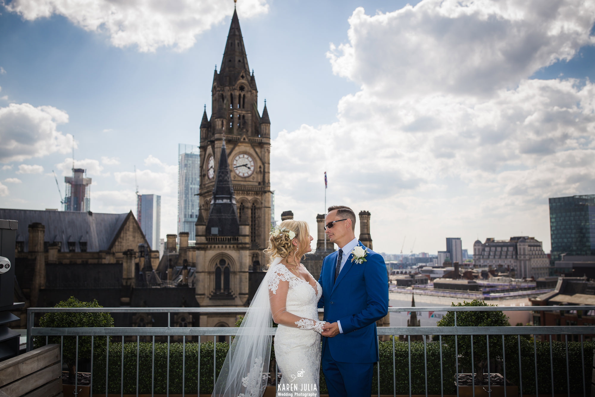 bride and groom on the roof terrace at their King Street Townhouse Wedding