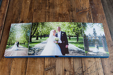 wedding album design featuring blue leather wedding album